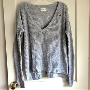 Hollister Grey V-Neck Knit Sweater